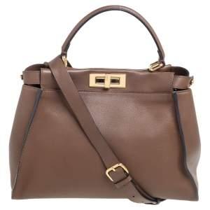 Fendi Dark Brown Leather Medium Peekaboo Top Handle Bag