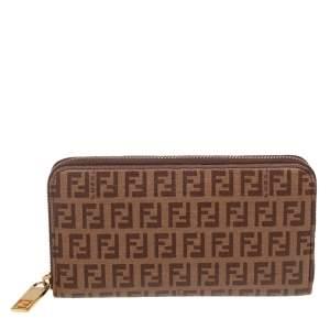 Fendi Brown/Beige Zucchino Coated Canvas Zip Around Wallet