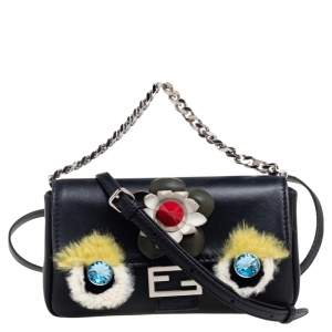 Fendi Black Leather and Fur Micro Monster Clutch