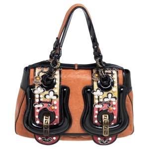 Fendi Brown/Black Patent Leather and Leather Embellished B Shoulder Bag