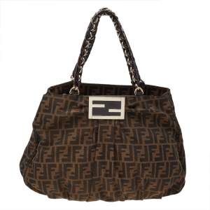 Fendi Tobacco Zucca Canvas And Patent Leather Large Mia Shoulder Bag