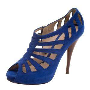 Fendi Cobalt Blue Suede Cut Out Booties Size 37