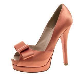 Fendi Orange Satin Deco Bow Platform Pumps Size 36