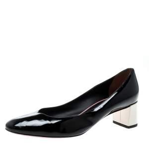 Fendi Black Patent Leather Eloise Round Toe Pumps Size 36