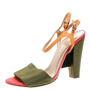 Fendi Multicolor Fabric Ankle Strap Block Heel Sandals Size 37