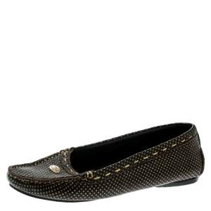 Fendi Brown/Metallic Gold Perforated Leather Loafers Size 37.5