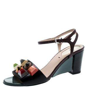 Fendi Multicolor Lizard Embossed And Leather Fantasia Studded Ankle Strap Sandals Size 35