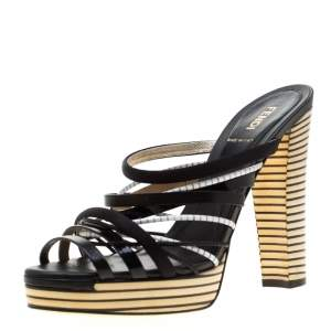 Fendi Tricolor Leather And Satin Stripes Strappy Platform Sandals Size 39