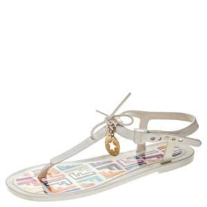 Fendi White Jelly Logo Charm Sunny Flat Sandals Size 36