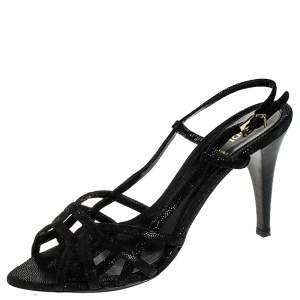 Fendi Black Strappy Textured Leather Ankle Strap Sandals Size 39