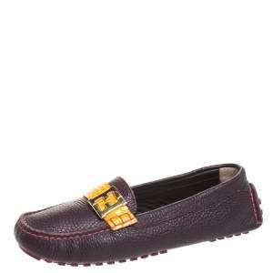 Fendi Burgundy Leather FF Logo Loafers Size 38.5
