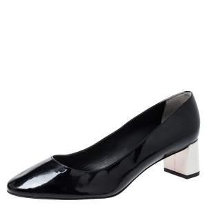 Fendi Monochrome Patent Leather Block Heel Pumps Size 40