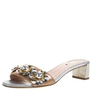 Fendi Bronze/Silver Leather Flowerland Embellished Block Heel Slides Size 38