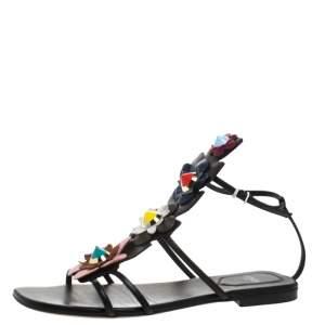 Fendi Multicolor Leather Flowerland Ankle Strap Gladiator Flat Sandals Size 38