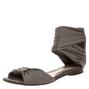 Fendi Grey Stretch Fabric Ankle Wrap Flat Sandals Size 36.5