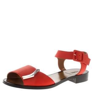 Fendi Orange Leather Ankle Strap Flat Sandals Size 36