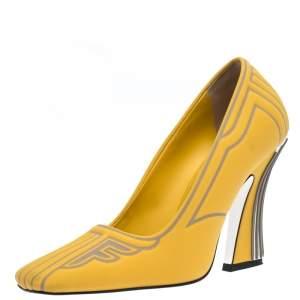 Fendi Yellow/Grey Neoprene And Rubber Square Toe Ffreedom Pumps Size 37