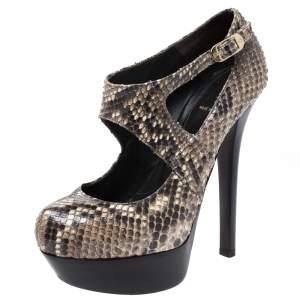 Fendi Multicolor Python Embossed Leather T-Strap Platform Sandals Size 37.5