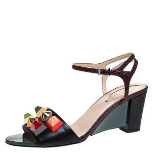 Fendi Multicolor Lizard Embossed And Leather Fantasia Studded Ankle Strap Sandals Size 37.5