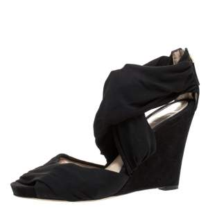 Fendi Black Stretch Fabric And Suede Cross Strap Sandals Size 40