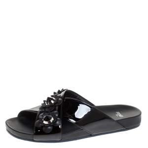 Fendi Black Patent Leather Flower Stud Embellished Flat Slides Size 38