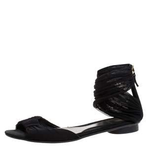 Fendi Black Mesh Fabric Open Toe Flat Sandals Size 36.5