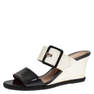 Fendi Black/White Patent Leather Demi Wedge Slides Size 40