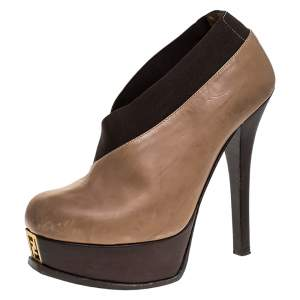 Fendi Beige/Brown Leather Fendista Faux-wrap Platform Ankle Booties Size 37