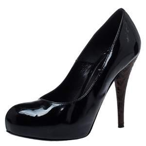 Fendi Black Patent Leather FF Logo Heels Platform Pumps Size 37