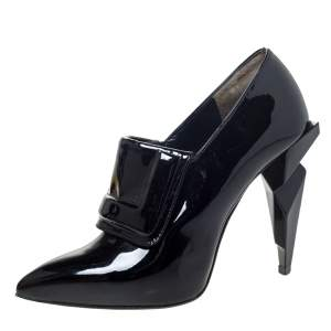 Fendi Black Patent Leather Ankle Boots Size 37