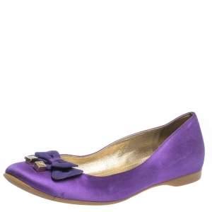 Fendi Purple Satin Bow Ballet Flats Size 36