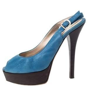 Fendi Blue Textured Leather Fendista Platform Slingback Sandals Size 39