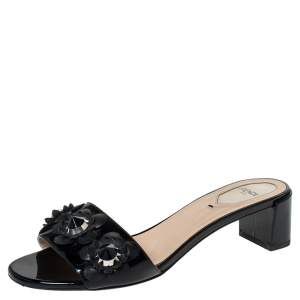 Fendi Black Patent And Leather Flower Stud Slide Sandals Size 38
