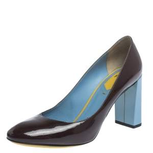 Fendi Burgundy Patent Leather Block Heel Pumps Size 37