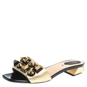 Fendi Gold Leather Studded Open Toe Flat Slides Size 38