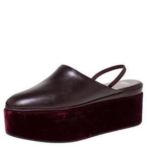 Fendi Burgundy Leather Platform Slingback Mules Sandals Size 38