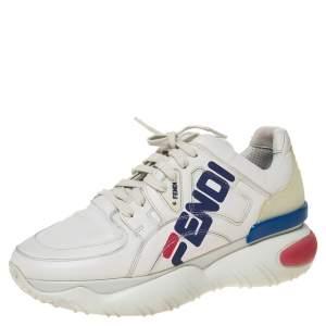 Fendi White Leather And Rubber Fendi-Fila Mania Logo Low Top Sneakers Size 38