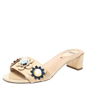 Fendi Beige Patent Leather Flowerland Embellished Block Heel Slides Size 36.5