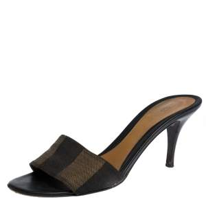 Fendi Pequin Canvas Open Toe Slide Sandals Size 38