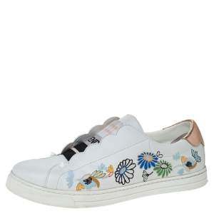 Fendi White Leather With Logo Knit Rockoko Scallop Detail Slip On Sneakers Size 39