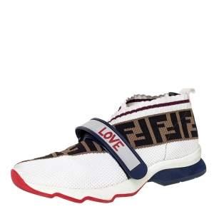 Fendi Multicolor Zucca Knit Fabric Rockoko Sneakers Size 38