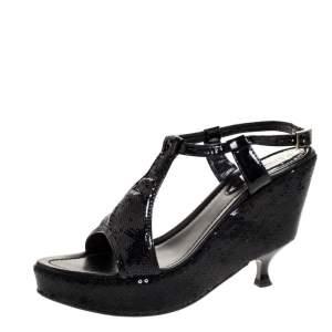 Fendi Black Patent And Sequin Platform Wedge Heel Ankle Strap Sandals Size 39