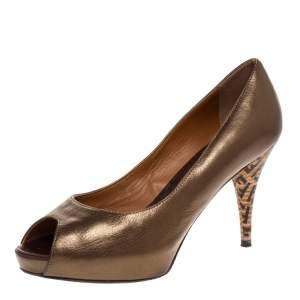 Fendi Metallic Bronze Leather Zucchino Heel Peep Toe Pumps Size 37.5