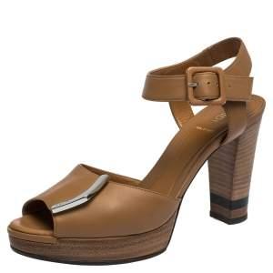 Fendi Brown Leather Peep Toe Platform Ankle Strap Sandals Size 37