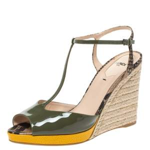 Fendi Multicolor Patent Leather and Python Embossed Elodie Espadrilles Wedge Sandals Size 40
