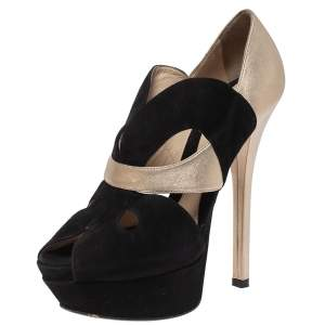 Fendi Black/Gold Lasercut Suede and Leather Peep Toe Platform Pumps Size 38