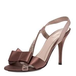Fendi Brown Satin Crystal Embellished Bow Slingback Sandals Size 37