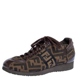 Fendi Tobacco Zucca Canvas and Leather Trim Low Top Sneakers Size 37