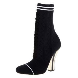 حذاء بوت كاحل فندى روكوكو رانواى أوبن ورك  قماش تريكو أسود مقاس 38