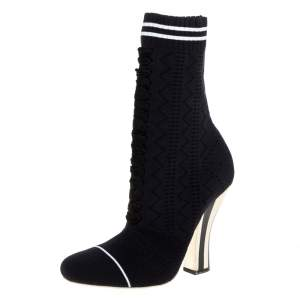 Fendi Black Knit Fabric Rockoko Runway Openwork Ankle Boots Size 38